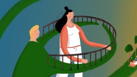 Ilustração de uma mulher presa pelos braços do marido