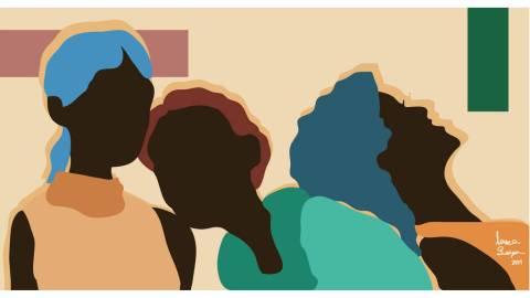 Ilustração de três mulheres negras, uma apoiada na outra