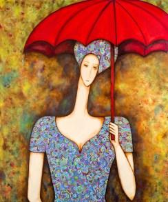 Mulher com sombrinha vermelha Acrílica sobre Tela 100 X 120 cm