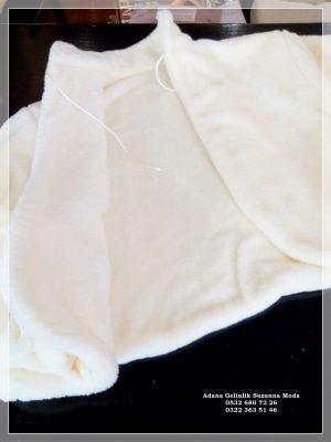 Gelin Ceketi Gelin imitasyon peluş Kürkü hakim yaka uzun kollu ip bağlamalı çift taraflı kullanma özelliği