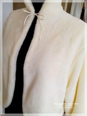 Gelin Ceketi Gelin imitasyon peluş Kürkü hakim yaka uzun kollu ip bağlamalı çift taraflı kullanma özelliği içi dışı yumuşacık peluş polar kumaşımız özel sipariş