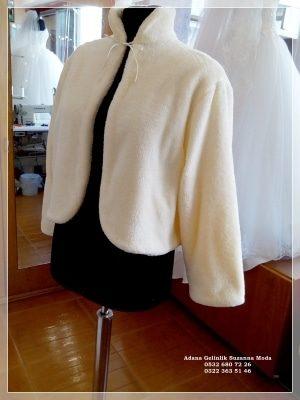 Gelin Ceketi Gelin imitasyon peluş Kürkü hakim yaka uzun kollu