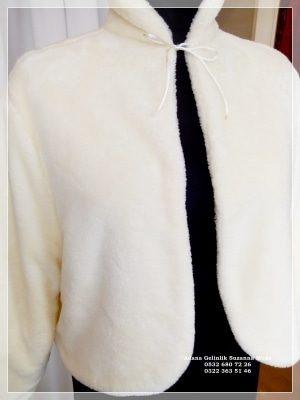 Gelin Ceketi Gelin imitasyon peluş Kürkü hakim yaka uzun kollu ip bağlamalı