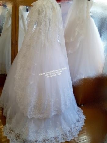 Tesettür Gelinlik Modelleri 2019 A kesim prenses dantelli türbanlı gelinlikler