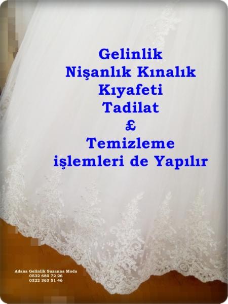 gelinlik nişanlık kına kıyafeti tadilat temizleme işlemleri yapılır.