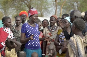 Aluel Makuac Atem is the elected leader in an internally displaced persons camp in Manangui, South Sudan. The 30-year old woman's husband was killed in Bentieu when the fighting broke out in December 2013, and she and her four children fled.
