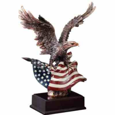 Bronze Eagle Sculpture with American Flag