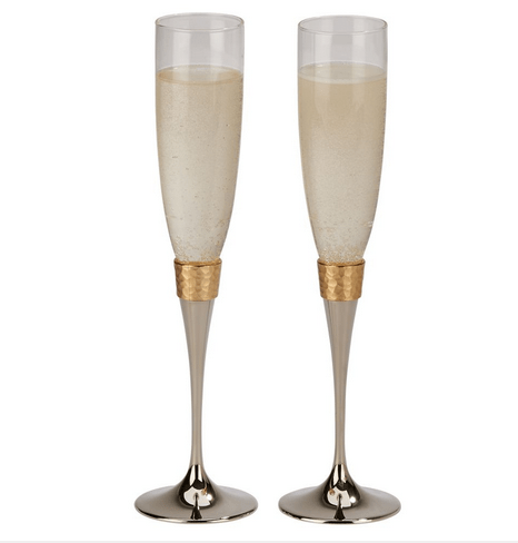 Hammered Gold Wedding Glasses