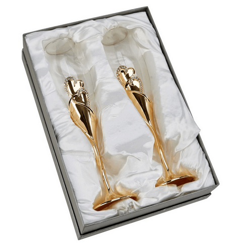 Gold Flute Glasses in Gift Box