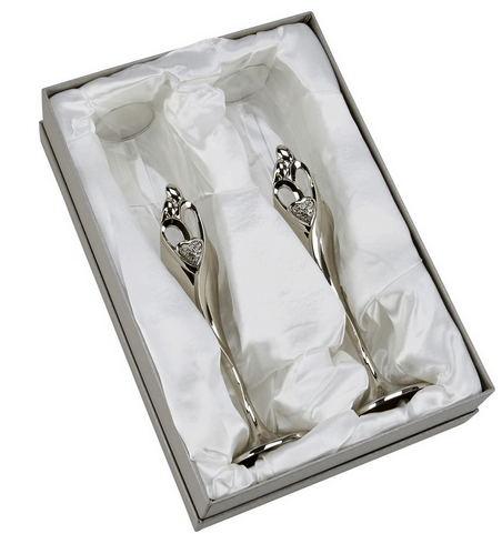 embrace Silver Wedding Flutes in Box