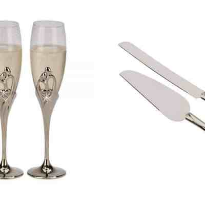 Embrace Toasting Flutes and Server Set Wedding Package