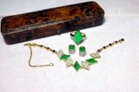 22k Dainty Jade Diamond Earrings
