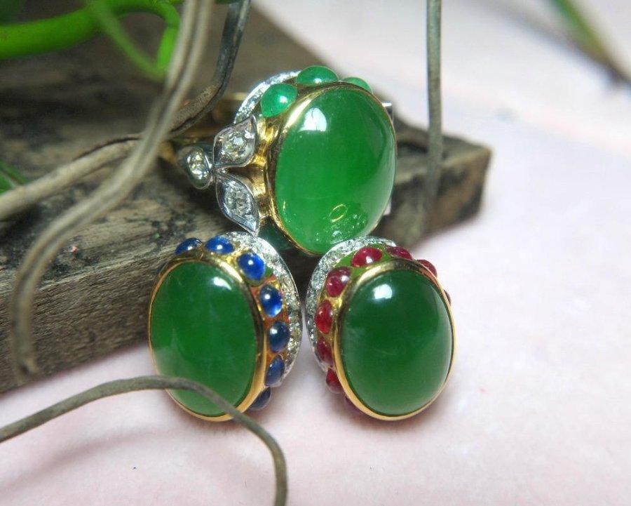 Imperial Jade Ruby Sapphire Diamond Earrings Art Deco