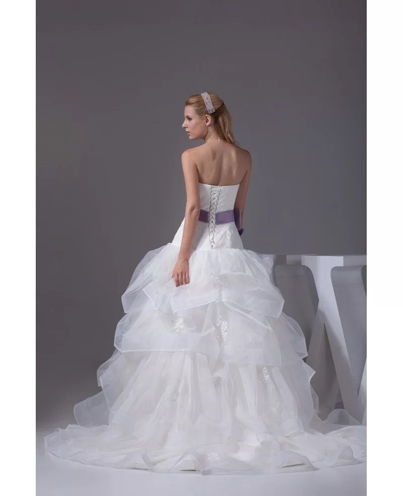 Cascading Ruffles Organza Sweetheart Wedding Dress With