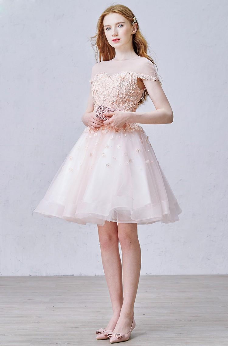 Cute Pink Homecoming Dresses Freshman Off Shoulder A Line