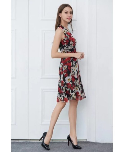 Summer Floral Print Chiffon Knee Length Wedding Guest Dress  DK347         Summer Floral Print Chiffon Knee Length Wedding Guest Dress
