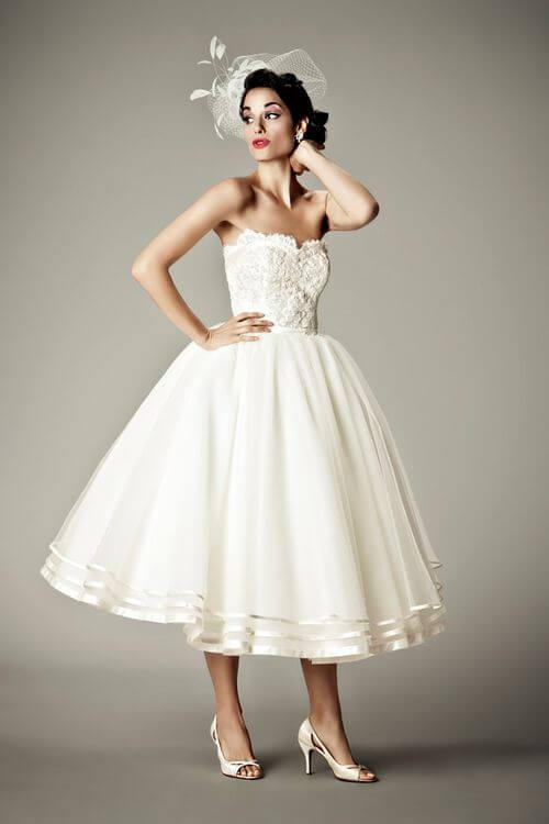 tea-length wedding dress for older bride