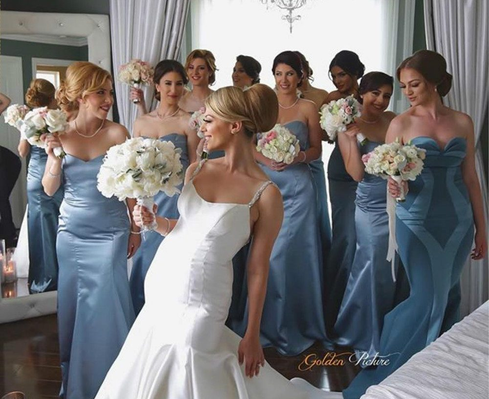 blue color bridesmaid dresses