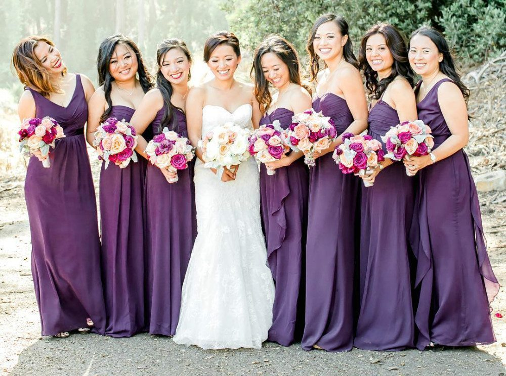 purple color bridesmaid dresses