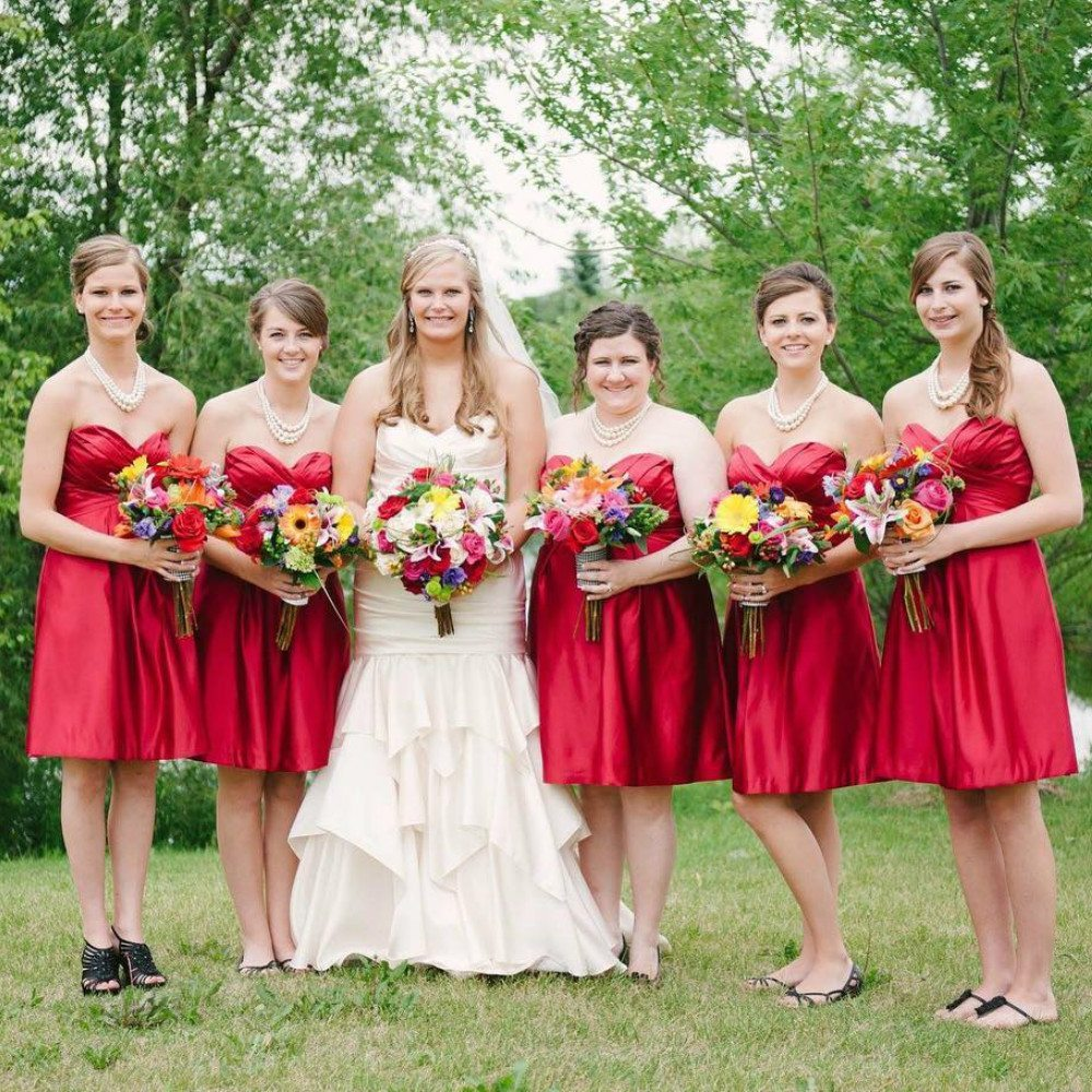 red color bridesmaid dresses