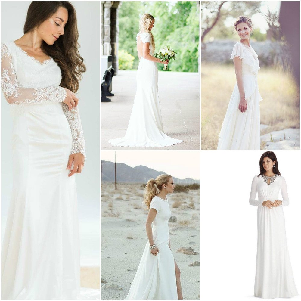wedding dresses simple with sleeves