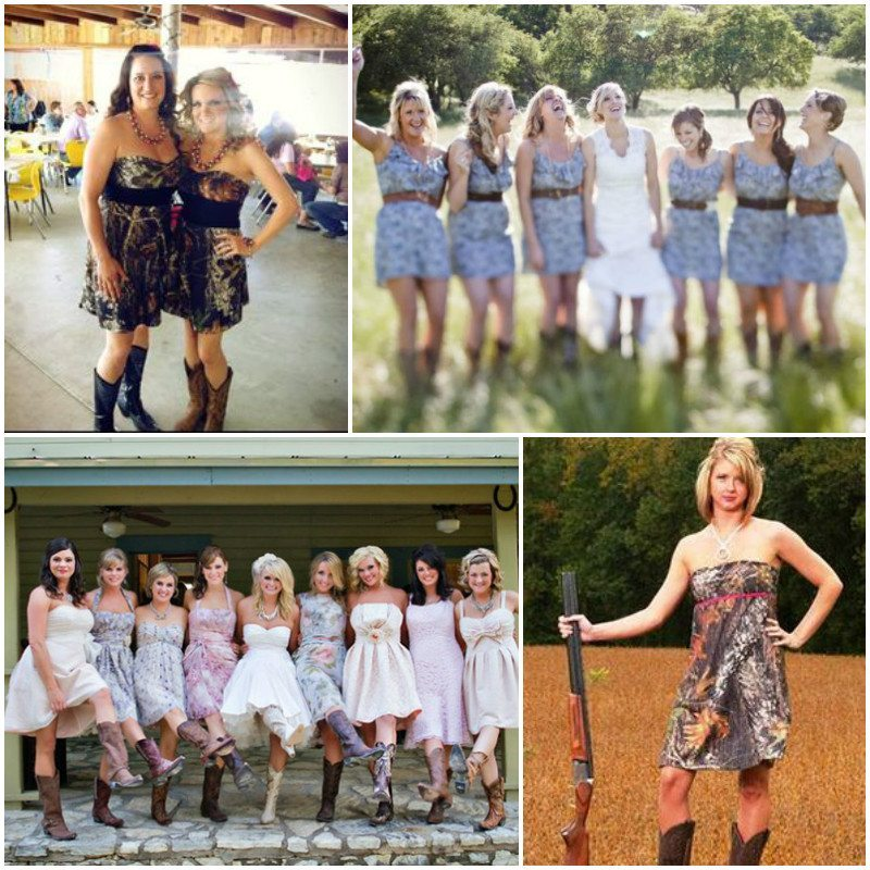 camo bridesmaid dress with boots