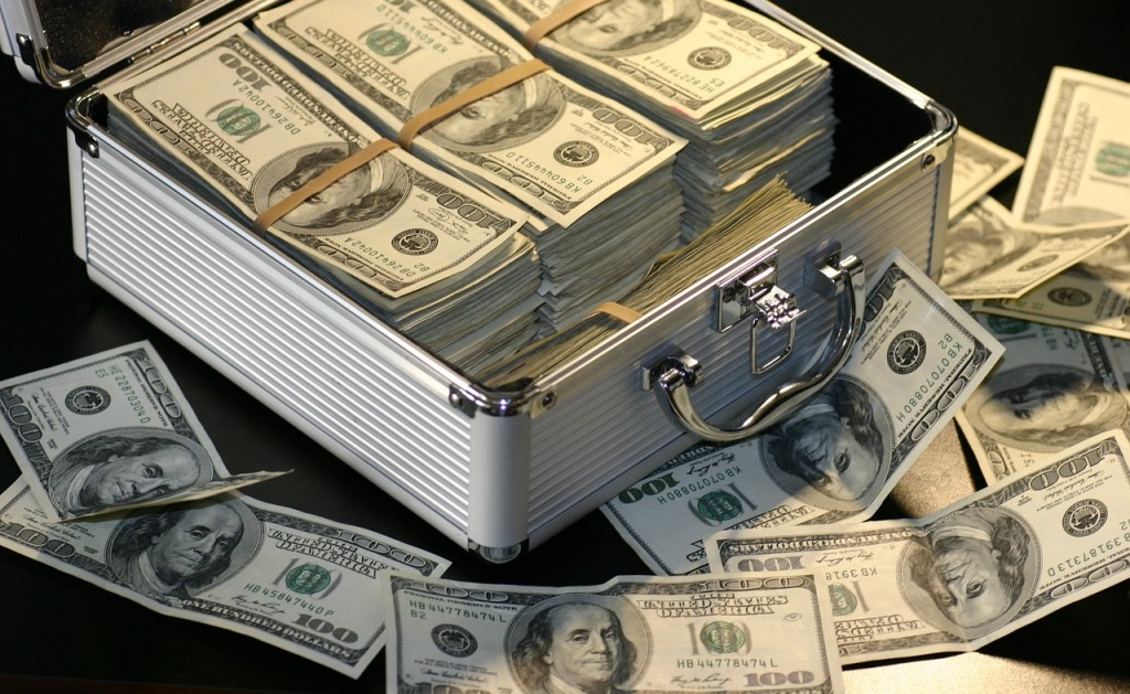 US dollars in aluminium case