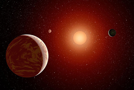Artist's concept of what the view might be like from inside the TRAPPIST-1 exoplanetary system showing three Earth-sized planets in orbit around the low-mass star. This alien planetary system is located only 40 light years away. Gemini South telescope imaging, the highest resolution images ever taken of the star, revealed no additional stellar companions providing strong evidence that three small, probably rocky planets orbit this star. Credit: Robert Hurt/JPL/Caltech.  Full resolution JPEG