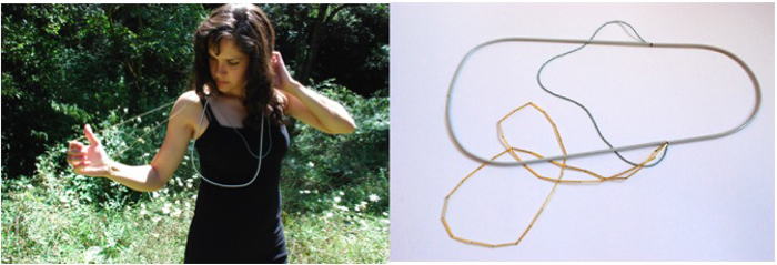 16. the floating knot n02. necklace. 2010. painted copper tube, glass beads