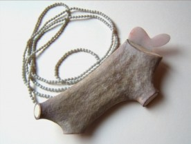 6. several ways to say it. brooch-necklace. horn, marble, silver, glass beads