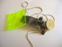 Lake Fortitude 10. Pendant 2011. Horn, acrilyc, copper, brass, thread. 24cm X 13cm X 4,5cm
