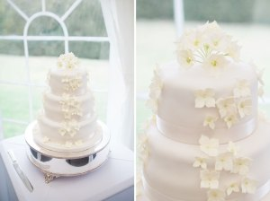 Wedding cake with iced flowers
