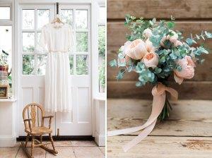 Handmade wedding dress and flowers