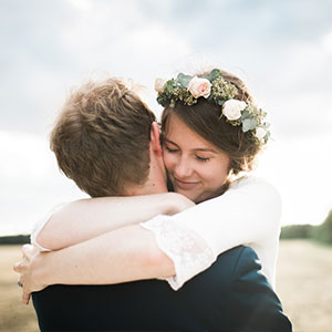 Greenstead Green wedding couple