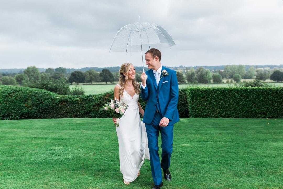 Rainy wedding at Maison Talbooth