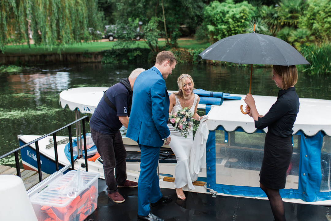 Boat arrival at Le Talbooth, Dedham