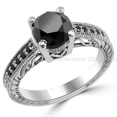 Antique Engagement Rings With Black Diamonds At Best Price