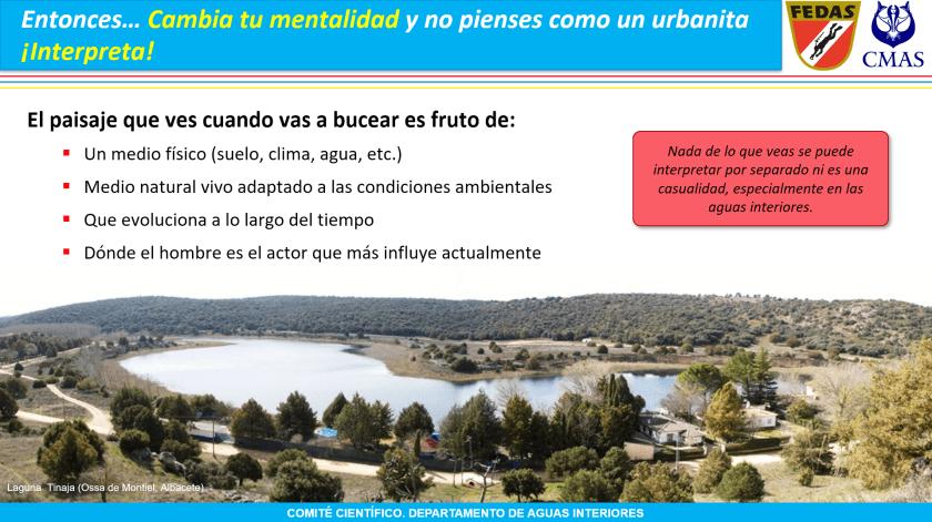 Diapositiva en la que se muestran los elementos del paisaje: hábitat, biocenosis y efectos del hombre.