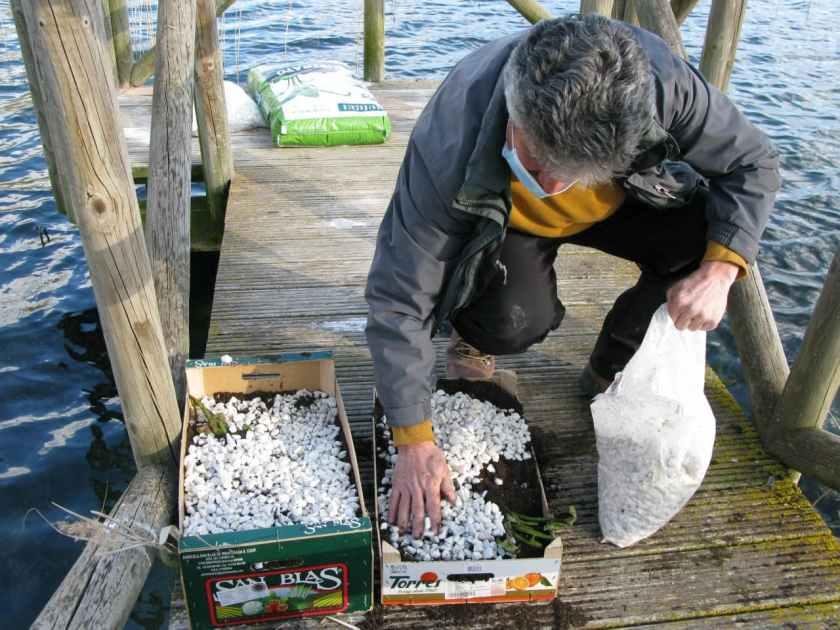 Enrique cubriendo con gravilla una de las cajas, junto a otra ya cubierta y lista para ser sumergida.