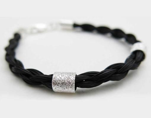 Gemosi Spirit horse hair bracelet silver 2 stardust beads