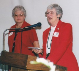 Outgoing Director Lynn McMillion, right, with her Assistant, Marie Melchiori, 2002
