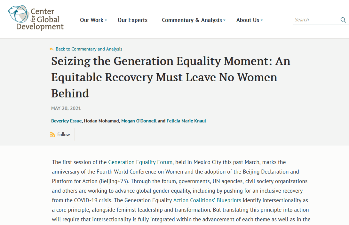 Seizing the Generation Equality moment