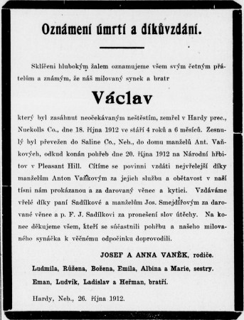 Václav (James) Vanek obituary from Wilberske Lisky, 30 Oct 1912, pg. 4.
