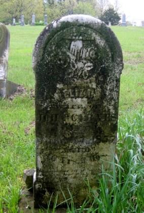 Eliza Nelson Carnes headstone in Swiggett Cemetery, New Salem, Pike County, Illinois.