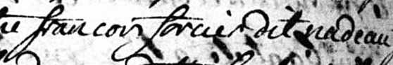 Francois Forcier dit Nadeau's name cropped from the parish record of his 1761 marriage.