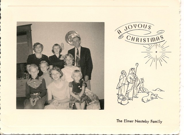nesteby family christmas card 1957 or 1958 my wifes late grandmother martha nesteby van loy is seated front and center - Elmer Fudd Blue Christmas