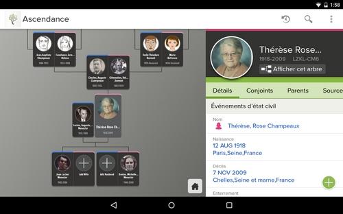Généalogie sur Android FamilySearch