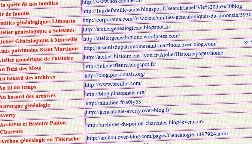 Annuaire blogs de généalogie
