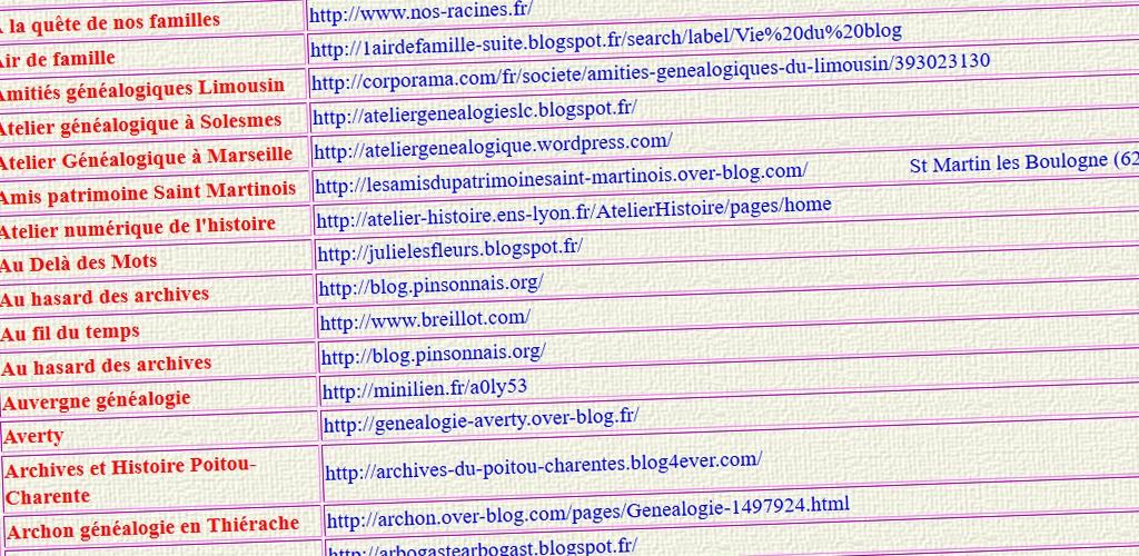 L'annuaire des blogs de généalogie