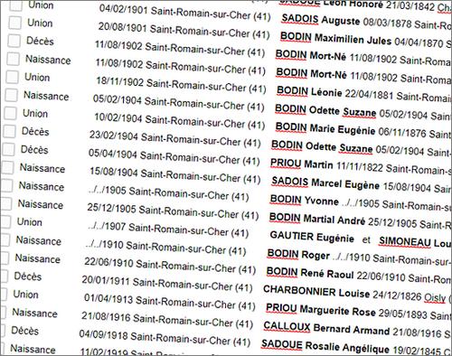 Voyage Genealogique Liste Actes